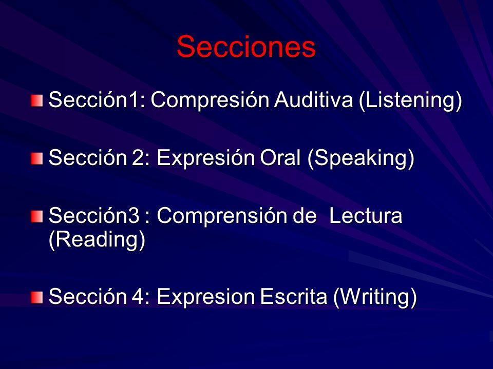 Secciones Sección1: Compresión Auditiva (Listening)