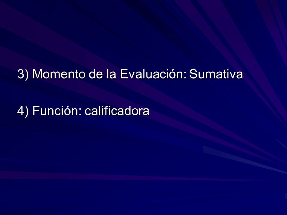 3) Momento de la Evaluación: Sumativa