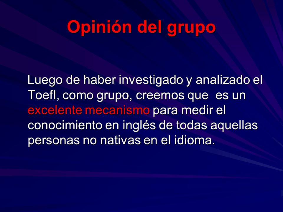 Opinión del grupo