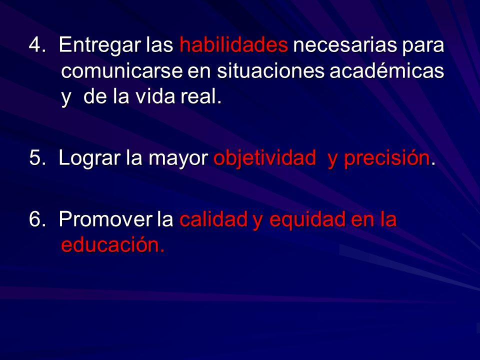 4. Entregar las habilidades necesarias para comunicarse en situaciones académicas y de la vida real.