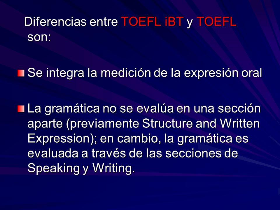 Diferencias entre TOEFL iBT y TOEFL son: