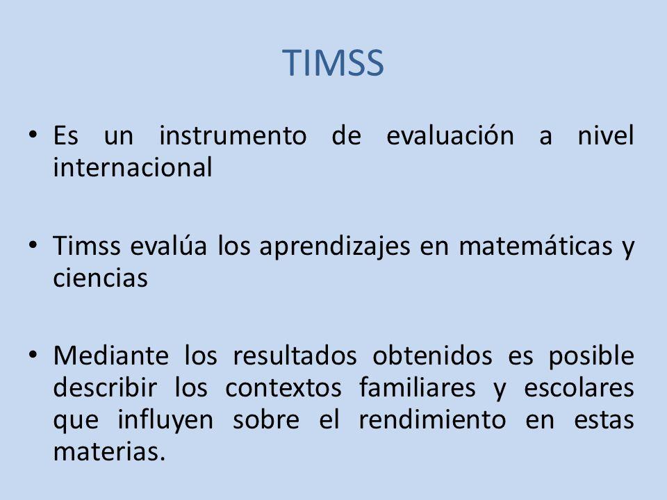 TIMSS Es un instrumento de evaluación a nivel internacional