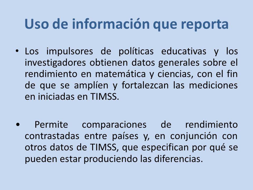 Uso de información que reporta