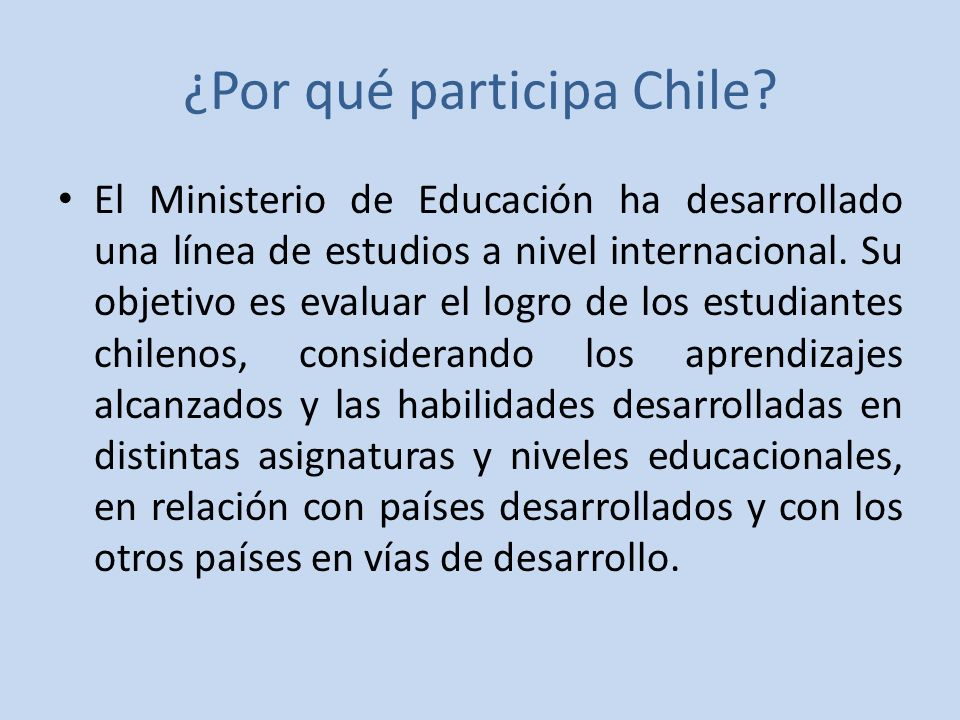 ¿Por qué participa Chile