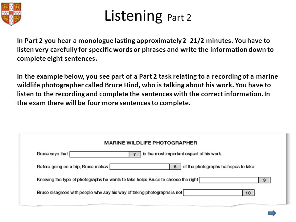 Listening Part 2