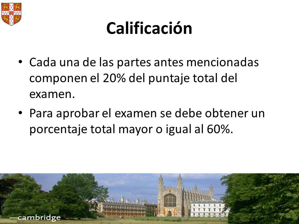 CalificaciónCada una de las partes antes mencionadas componen el 20% del puntaje total del examen.