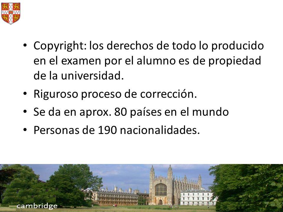 Copyright: los derechos de todo lo producido en el examen por el alumno es de propiedad de la universidad.