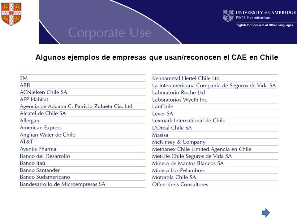 Algunos ejemplos de empresas que usan/reconocen el CAE en Chile