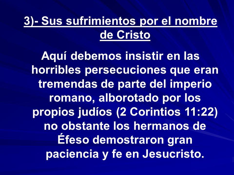 3)- Sus sufrimientos por el nombre de Cristo