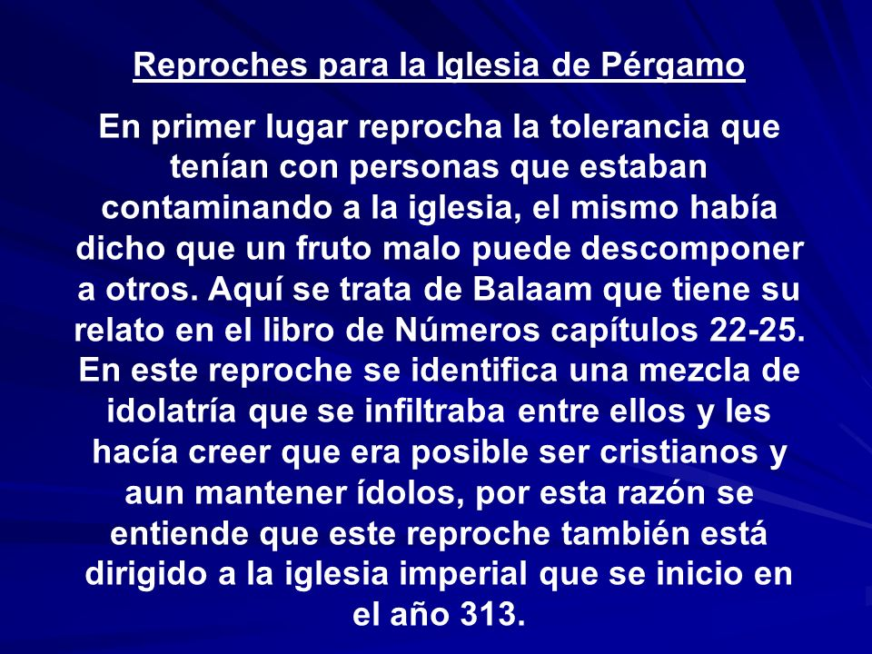 Reproches para la Iglesia de Pérgamo