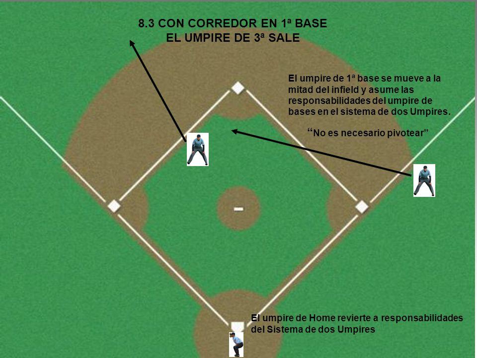 8.3 CON CORREDOR EN 1ª BASE EL UMPIRE DE 3ª SALE