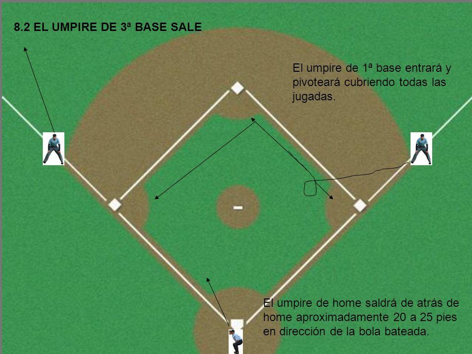8.2 EL UMPIRE DE 3ª BASE SALE El umpire de 1ª base entrará y pivoteará cubriendo todas las jugadas.
