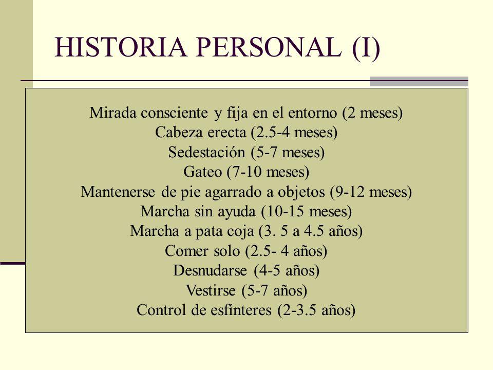 HISTORIA PERSONAL (I) Mirada consciente y fija en el entorno (2 meses)