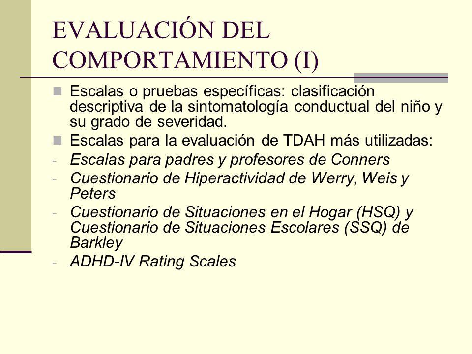 EVALUACIÓN DEL COMPORTAMIENTO (I)