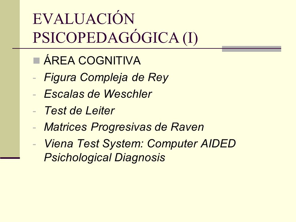 EVALUACIÓN PSICOPEDAGÓGICA (I)