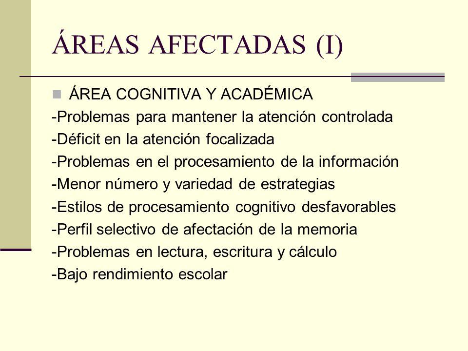 ÁREAS AFECTADAS (I) ÁREA COGNITIVA Y ACADÉMICA