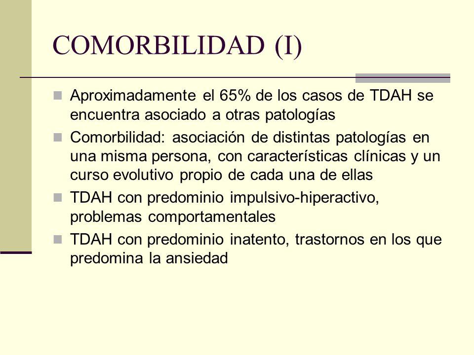 COMORBILIDAD (I) Aproximadamente el 65% de los casos de TDAH se encuentra asociado a otras patologías.