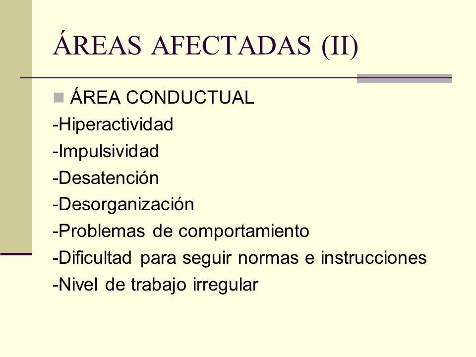ÁREAS AFECTADAS (II) ÁREA CONDUCTUAL -Hiperactividad -Impulsividad