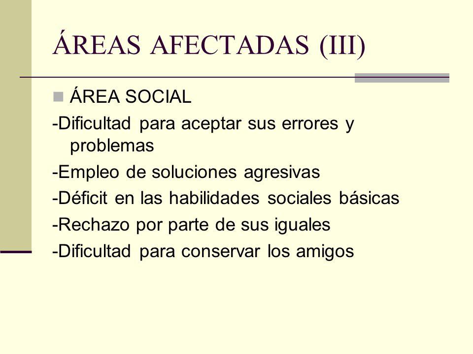 ÁREAS AFECTADAS (III) ÁREA SOCIAL