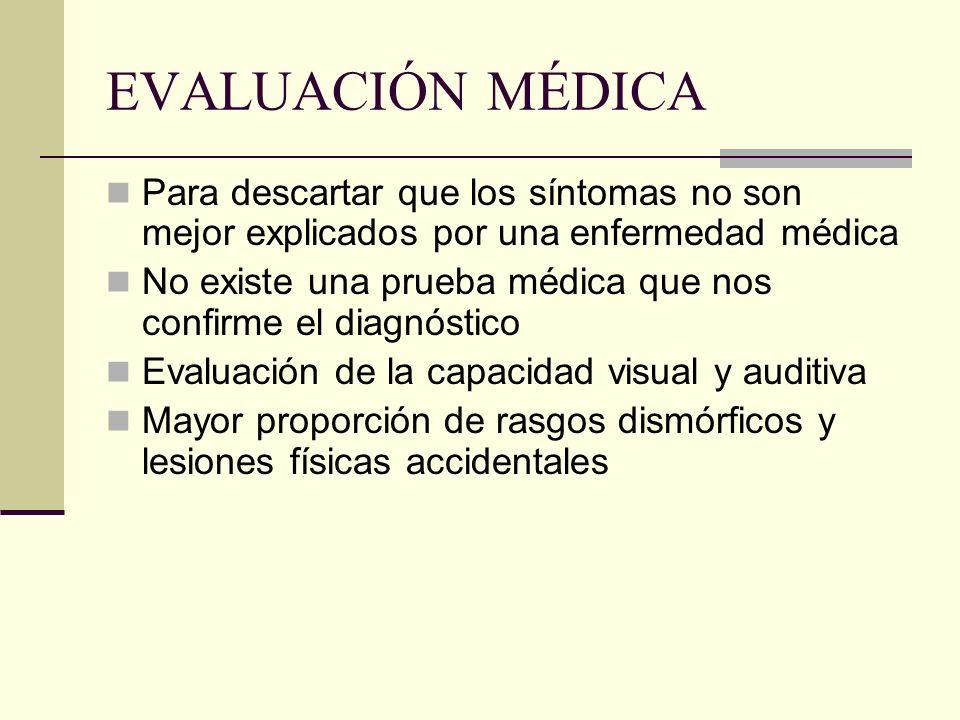 EVALUACIÓN MÉDICA Para descartar que los síntomas no son mejor explicados por una enfermedad médica.