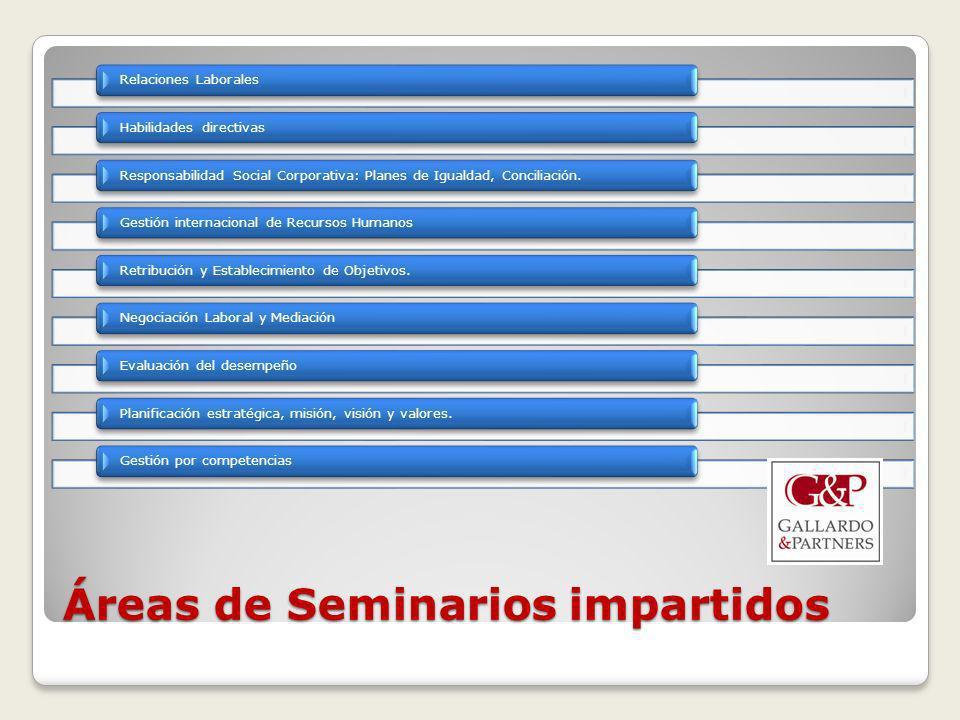 Áreas de Seminarios impartidos