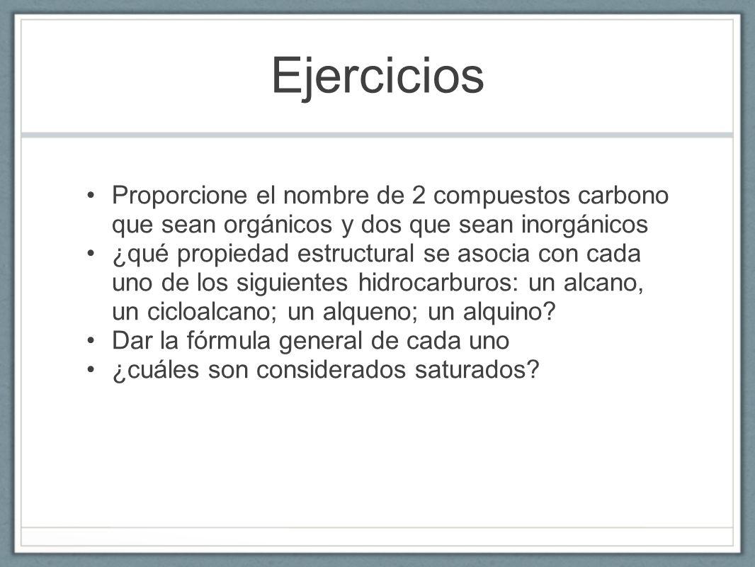 Ejercicios Proporcione el nombre de 2 compuestos carbono que sean orgánicos y dos que sean inorgánicos.