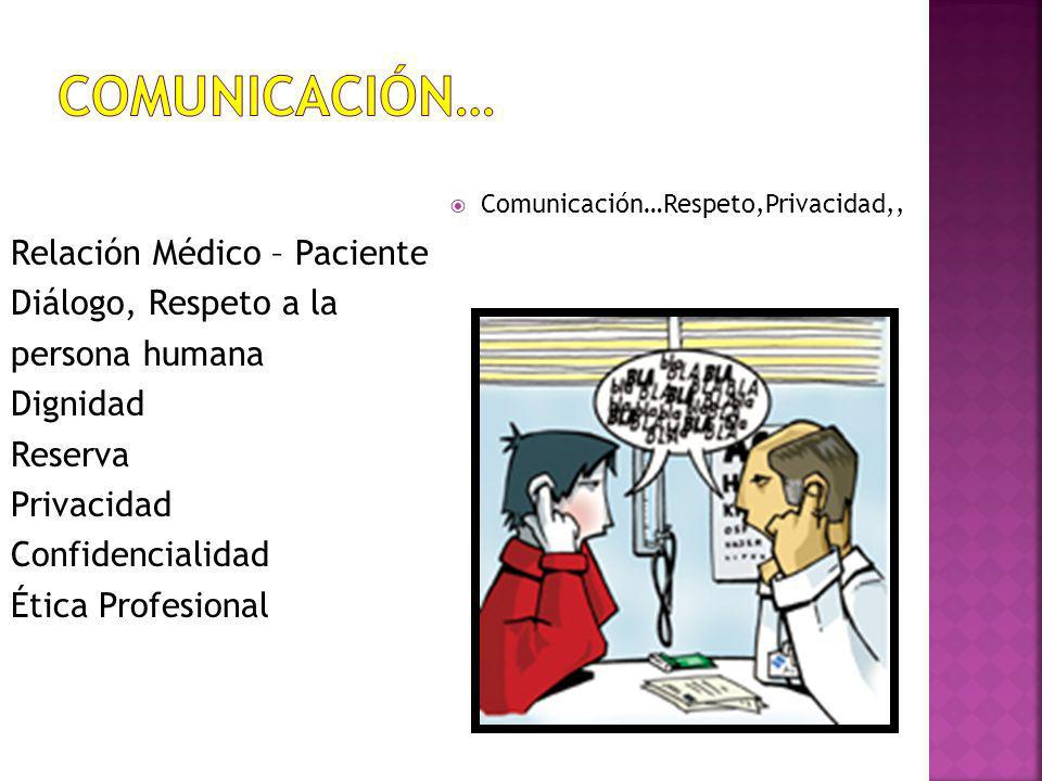 Comunicación… Comunicación…Respeto,Privacidad,,