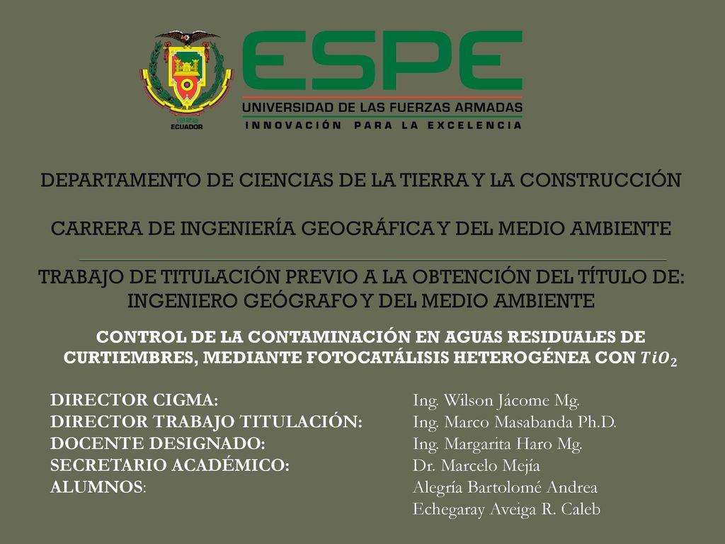 DEPARTAMENTO DE CIENCIAS DE LA TIERRA Y LA CONSTRUCCIÓN CARRERA DE ...