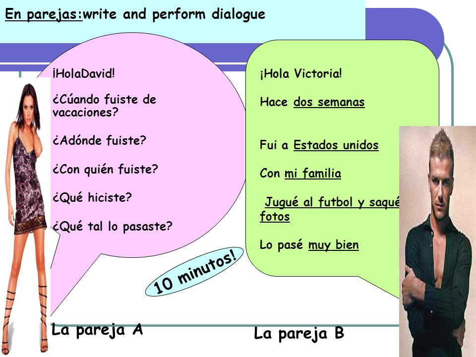En parejas:write and perform dialogue