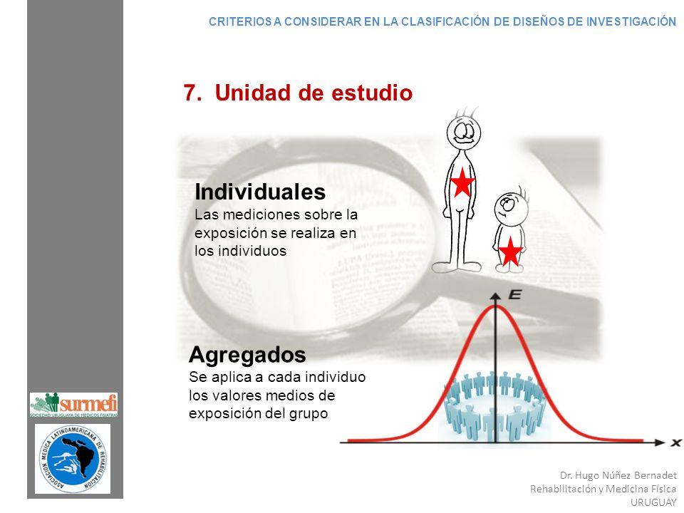 7. Unidad de estudio Individuales Agregados Las mediciones sobre la