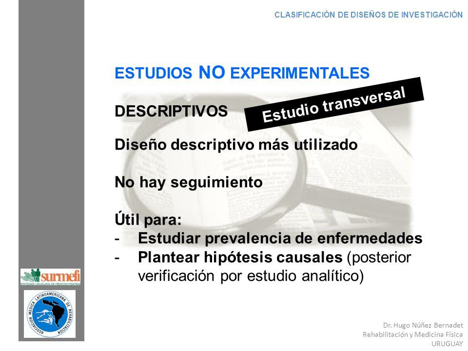 ESTUDIOS NO EXPERIMENTALES DESCRIPTIVOS Estudio transversal
