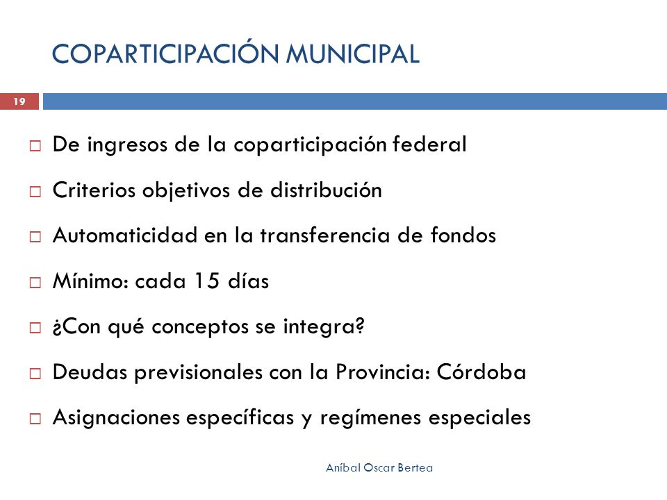 COPARTICIPACIÓN MUNICIPAL