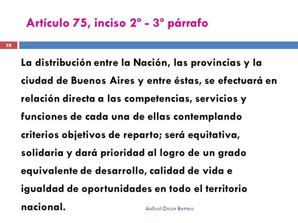Artículo 75, inciso 2º - 3º párrafo