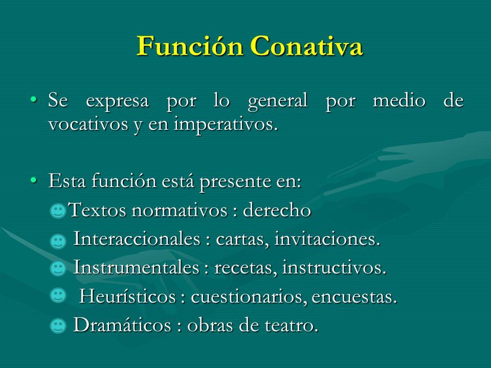 Función ConativaSe expresa por lo general por medio de vocativos y en imperativos. Esta función está presente en: