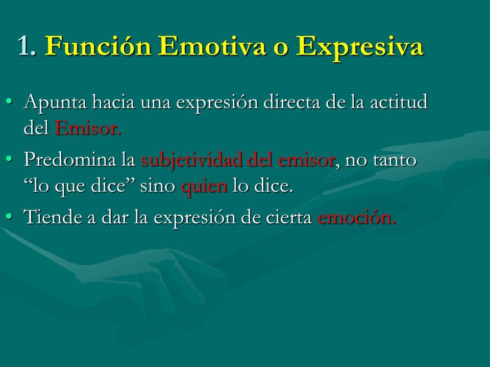1. Función Emotiva o Expresiva