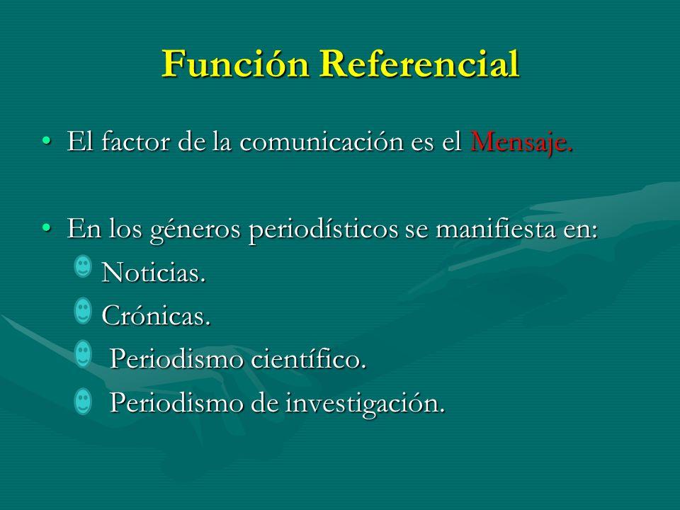 Función Referencial El factor de la comunicación es el Mensaje.