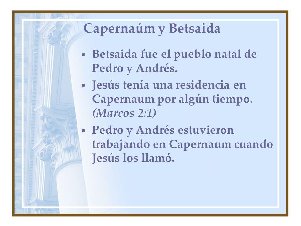 Capernaúm y Betsaida Betsaida fue el pueblo natal de Pedro y Andrés.