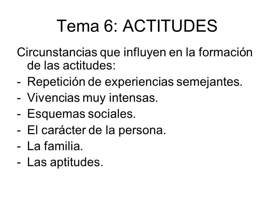 Tema 6: ACTITUDES Circunstancias que influyen en la formación de las actitudes: Repetición de experiencias semejantes.