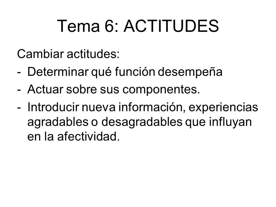 Tema 6: ACTITUDES Cambiar actitudes: Determinar qué función desempeña