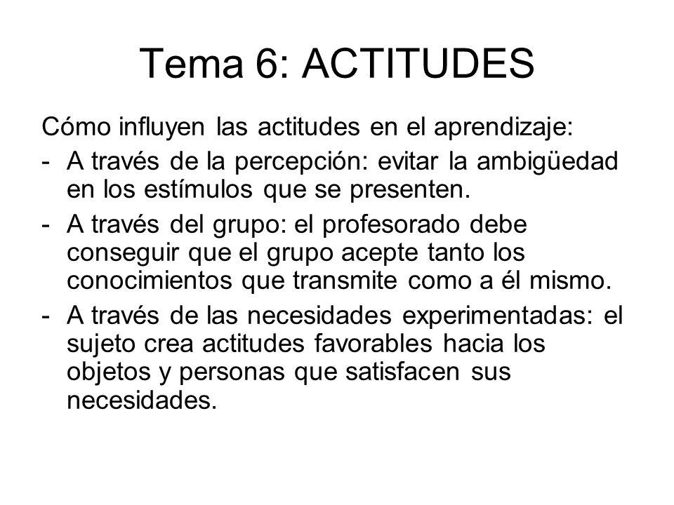 Tema 6: ACTITUDES Cómo influyen las actitudes en el aprendizaje: