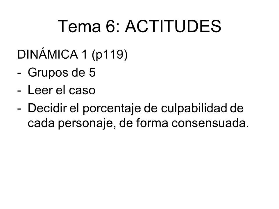 Tema 6: ACTITUDES DINÁMICA 1 (p119) Grupos de 5 Leer el caso