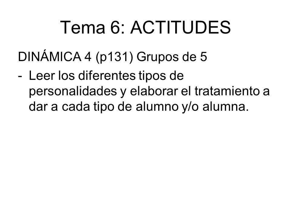 Tema 6: ACTITUDES DINÁMICA 4 (p131) Grupos de 5