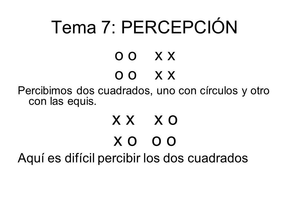 Tema 7: PERCEPCIÓN x x x o x o o o o o x x