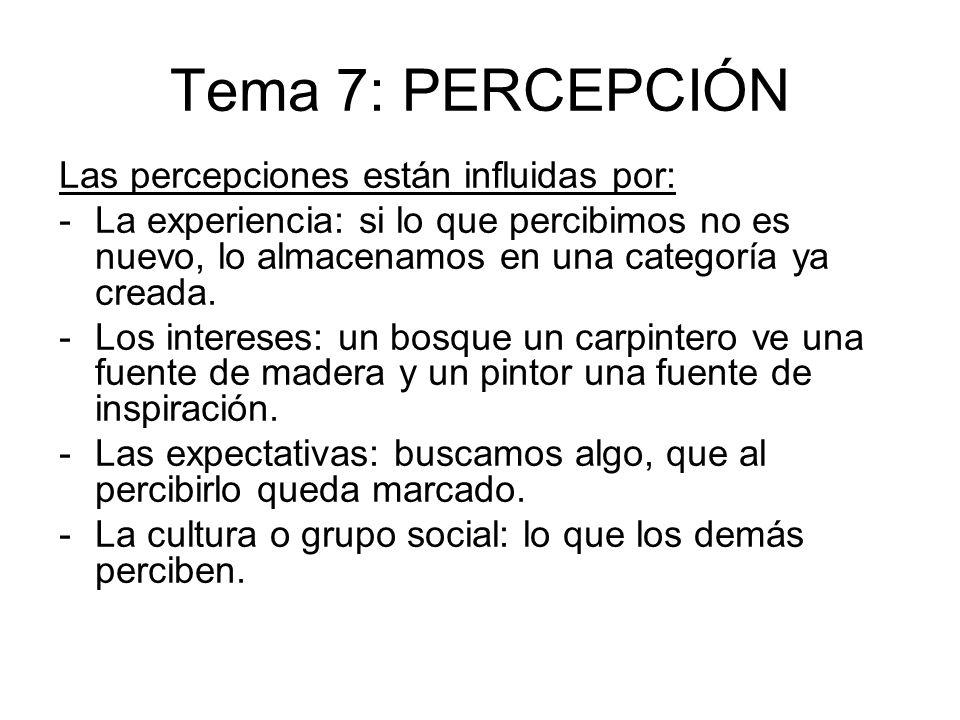 Tema 7: PERCEPCIÓN Las percepciones están influidas por: