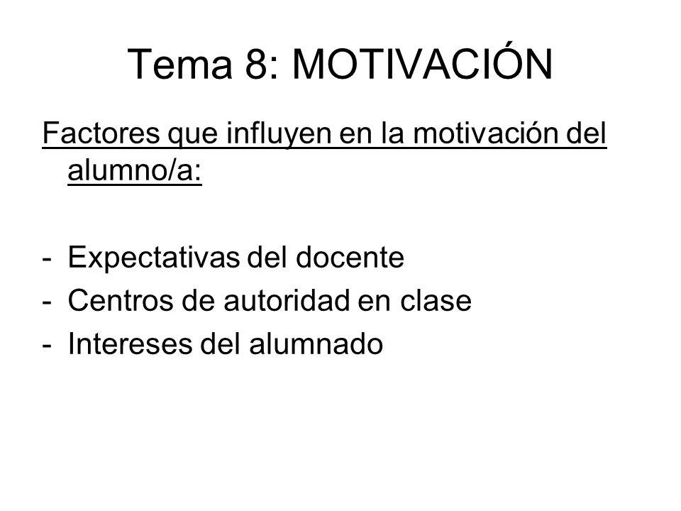 Tema 8: MOTIVACIÓN Factores que influyen en la motivación del alumno/a: Expectativas del docente. Centros de autoridad en clase.