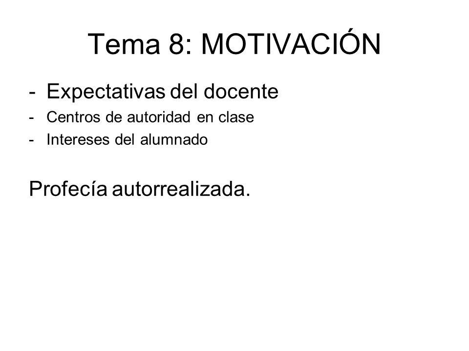Tema 8: MOTIVACIÓN Expectativas del docente Profecía autorrealizada.