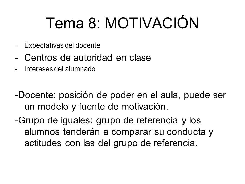 Tema 8: MOTIVACIÓN Centros de autoridad en clase