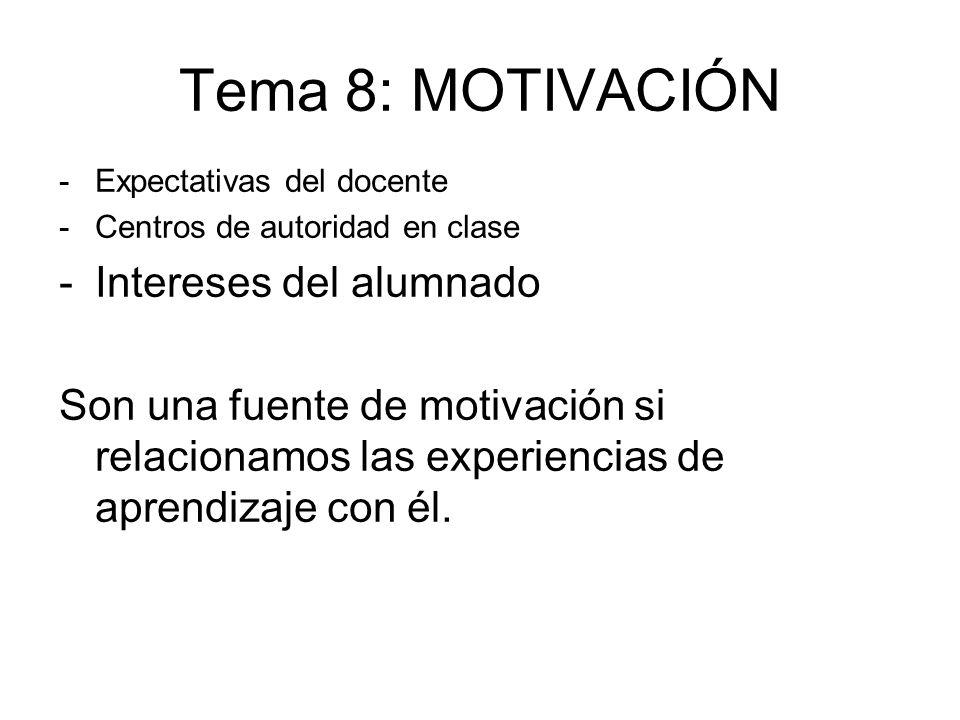 Tema 8: MOTIVACIÓN Intereses del alumnado