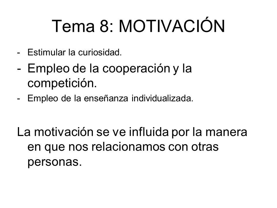 Tema 8: MOTIVACIÓN Empleo de la cooperación y la competición.