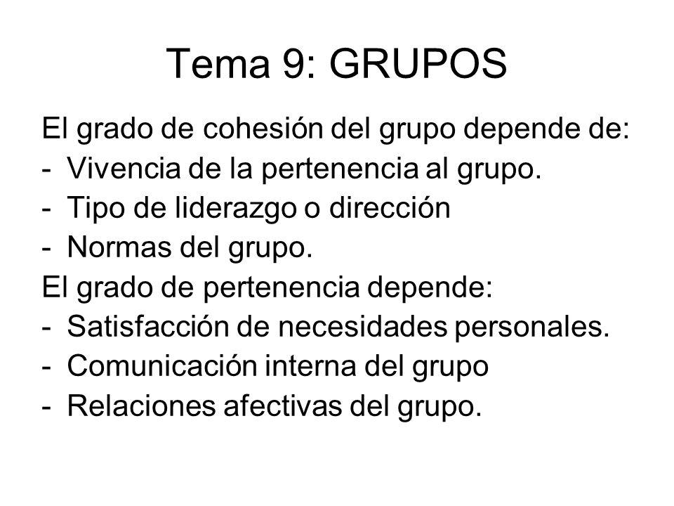 Tema 9: GRUPOS El grado de cohesión del grupo depende de: